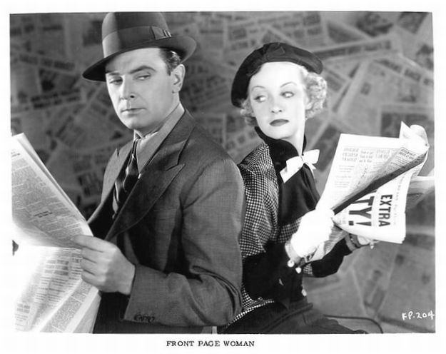 front page woman with bette davis and george brent