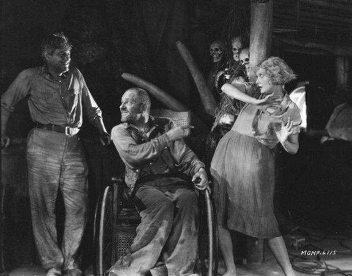 Lionel Barrymore, Lon Chaney and Mary Nolan in West of Zanzibar - photo courtesy therediscovered.com